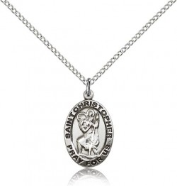 Women's Oval St. Christopher Pray For Us Necklace [BM0667]