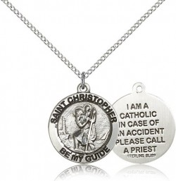 Women's Double-Sided I'm A Catholic St. Christopher Necklace [BM0669]