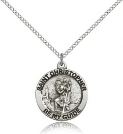 Women's Round St. Christopher Necklace [BM0670]