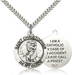 Men's Double-Sided I'm A Catholic St. Christopher Necklace [BM0671]