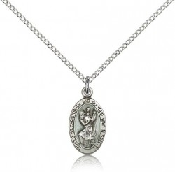Women's Blue Enamel Behold St. Christopher Necklace [BM0674]