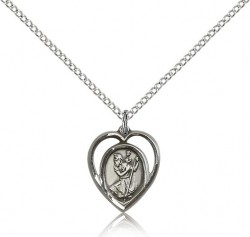 Open-Cut Heart Petite St. Christopher Necklace [BM0676]