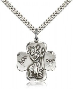 Swimmer Skier St. Christopher Clover Necklace [BM0677]