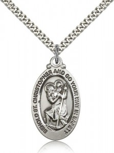Go Your Way in Safely Men's Oval St. Christopher Necklace [BM0678]