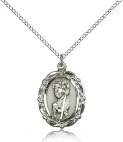 Floral Border Oval St. Christopher Necklace [BM0679]