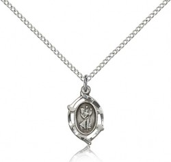 Pointed Oval Petite St. Christopher Necklace [BM0680]