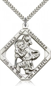 Large St. Christopher Necklace Open-Cut Diamond Shape [BM0687]