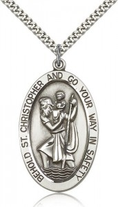 Large Men's Oval St. Christopher Necklace [BM0690]