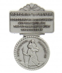 "St. Christopher Motorist's Prayer Visor Clip, Pewter - 2 1/4""H [AU0111]"