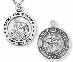 St. Christopher Navy Medal Sterling Silver [REM1002]