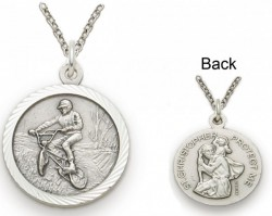 St. Christopher Off Road Bike Sports Medal with Chain [SM0056]