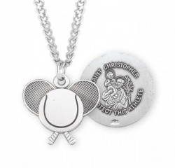 St. Christopher Tennis Medal Sterling Silver [HMM1076]