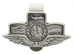"St. Christopher with Wings Land-Air-Sea Visor Clip, Pewter - 2 5/8""W [AU0034]"