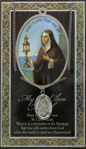 St. Clare Medal in Pewter with Bi-Fold Prayer Card [HPM017]