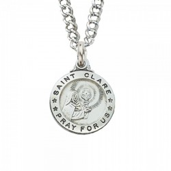 St. Clare Sterling Silver - Smaller Medal [CM0303]
