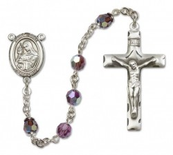 St. Clare of Assisi Sterling Silver Heirloom Rosary Squared Crucifix [RBEN0160]