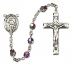 St. Deborah Sterling Silver Heirloom Rosary Squared Crucifix [RBEN0170]