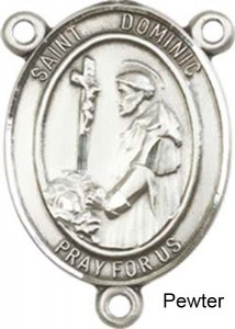 St. Dominic De Guzman Rosary Centerpiece Sterling Silver or Pewter [BLCR0200]