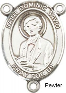 St. Dominic Savio Rosary Centerpiece Sterling Silver or Pewter [BLCR0328]