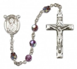 St. Dominic Savio Sterling Silver Heirloom Rosary Squared Crucifix [RBEN0173]