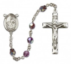St. Dymphna Sterling Silver Heirloom Rosary Squared Crucifix [RBEN0177]