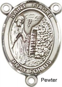 St. Fiacre Rosary Centerpiece Sterling Silver or Pewter [BLCR0396]