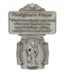 "St. Florian Firefighter Prayer Visor Clip, Pewter - 2 1/8""H [AU1032]"