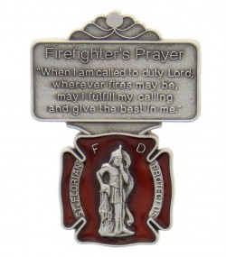 "St. Florian Firefighter Prayer Visor Clip, Red Enamel, Pewter - 2 1/8""H [AU1034]"