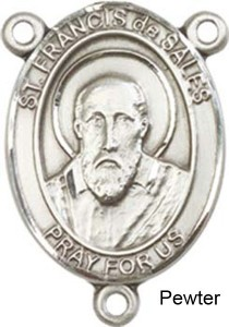 St. Francis De Sales Rosary Centerpiece Sterling Silver or Pewter [BLCR0205]