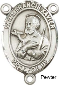 St. Francis Xavier Rosary Centerpiece Sterling Silver or Pewter [BLCR0207]
