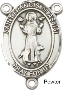 St. Francis of Assisi Rosary Centerpiece Sterling Silver or Pewter [BLCR0206]