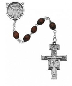 St. Francis of Assisi Rosary with Wood Beads [MVRB1101]