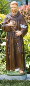St. Francis with Cross and Birds 24.5 Inch Statue [MSA0018]