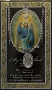 St. Gabriel Medal in Pewter with Bi-Fold Prayer Card [HPM026]