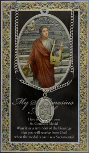 St. Genesius Medal in Pewter with Bi-Fold Prayer Card [HPM028]