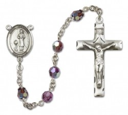 St. Genesius of Rome Sterling Silver Heirloom Rosary Squared Crucifix [RBEN0204]
