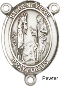St. Genevieve Rosary Centerpiece Sterling Silver or Pewter [BLCR0211]