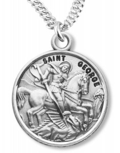 Saint george medal with necklace catholic faith store st george medal ree0082 aloadofball Image collections
