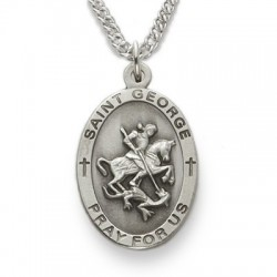 Saint george medal with necklace catholic faith store st george medal sn220 aloadofball Image collections