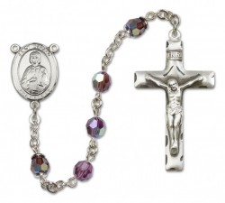 St. Gerard Sterling Silver Heirloom Rosary Squared Crucifix [RBEN0207]