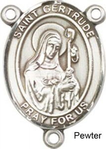 St. Gertrude of Nivelles Rosary Centerpiece Sterling Silver or Pewter [BLCR0320]