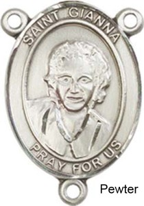 St. Gianna Rosary Centerpiece Sterling Silver or Pewter [BLCR0420]