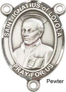 St. Ignatius of Loyola Rosary Centerpiece Sterling Silver or Pewter [BLCR0319]