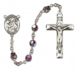 St. Januarius Sterling Silver Heirloom Rosary Squared Crucifix [RBEN0232]