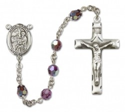 St. Jerome Sterling Silver Heirloom Rosary Squared Crucifix [RBEN0234]