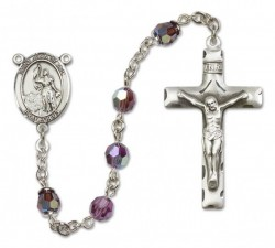 St. Joan of Arc Sterling Silver Heirloom Rosary Squared Crucifix [RBEN0236]