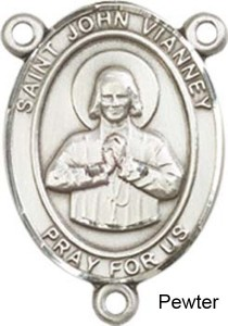 St. John Vianney Rosary Centerpiece Sterling Silver or Pewter [BLCR0380]