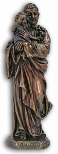 St. Joseph & Child Statue, Bronzed Resin  - 8 inches [GSS037]