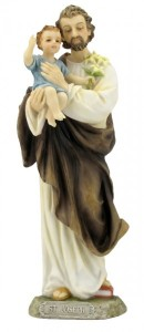 St. Joseph & Child Statue, Hand Painted - 8 inches [GSS038]
