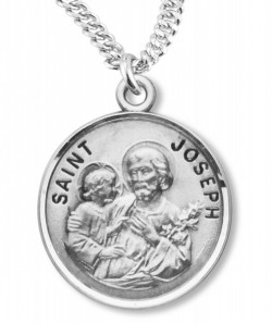 Round St. Joseph Sterling Silver Pendant [REE0098]
